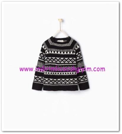 Zara kız çocuk siyah desenli jakarlı kazak-76 TL
