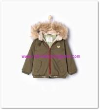 Zara kız bebek haki kapşonlu parka-110 TL