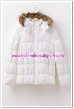 DeFacto genç kız beyaz kapşonlu anorak mont-60 TL