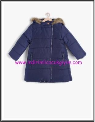 Koton kız çocuk fermuarlı kapşonlu lacivert kaban-60 TL