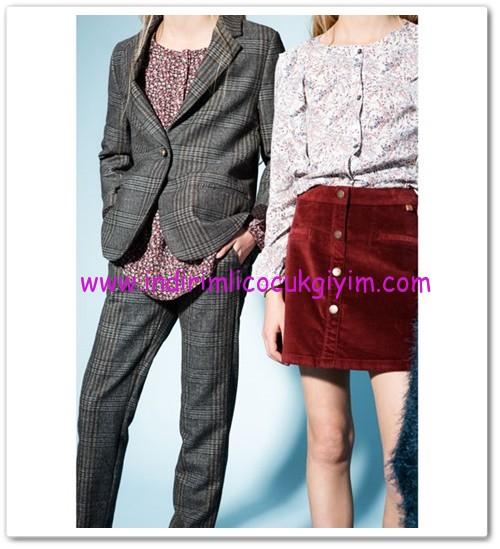 Zara kız çocuk gri kareli pantolon-36 TL