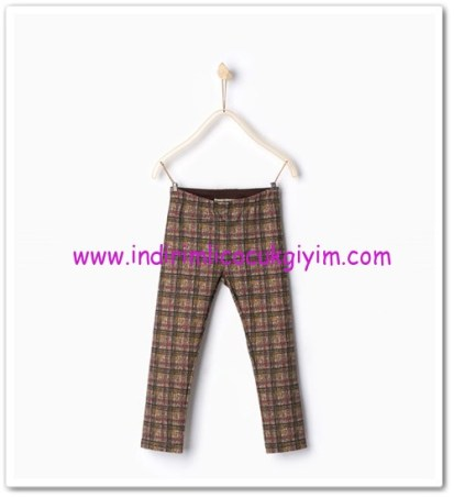 Zara kız çocuk kareli cepli pantolon-20 TL