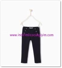 Zara kız çocuk lacivert düğme detaylı pantolon-36 TL