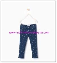 Zara kız çocuk lacivert kuş desenli jean pantolon-40 TL