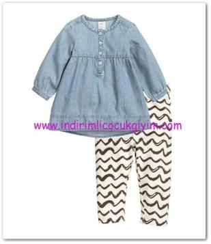 HM-kız bebek elbise-tayt takım-60 TL