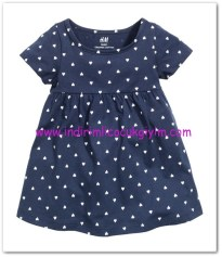HM-kız bebek koyu mavi kalpli elbise-15 TL