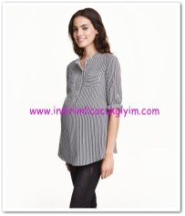 HM-siyah çizgili uzun kollu hamile gömlek-70 TL