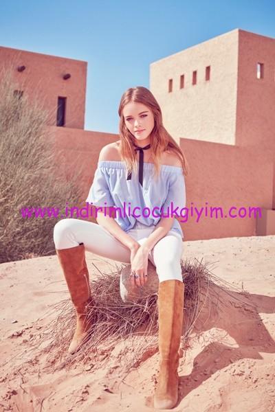 Koton-Ole-Açık Omuzlu Genç Kız Mavi Bluz