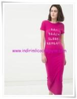 Koton fuşya yazı baskılı maksi elbise-60 TL