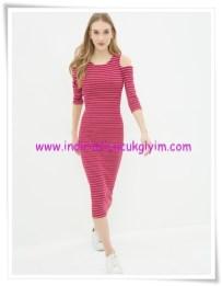 Koton kırmızı çizgili omzu açık elbise-40 TL