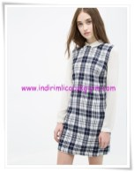 Koton lacivert kareli mini elbise-30 TL