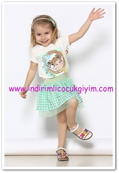 Tozlu Giyim 1-4 yaş kız çocuk nil yeşili etekli takım-30 TL