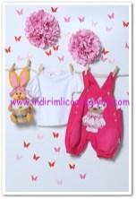 Tozlu Giyim fuşya 1-2 yaş kız çocuk salopet-bluz takımı-25 TL