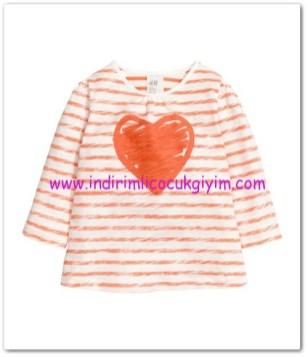 hm-kız bebek-jarse turuncu çizgili üst-15 TL