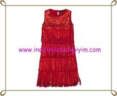 Puledro kırmızı payetli kız çocuk abiye elbise-