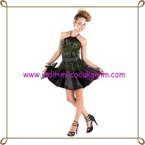 Puledro kız çocuk tüylü siyah abiye elbise-130 TL