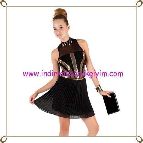 Puledro siyah gold payetli abiye elbise-170 TL