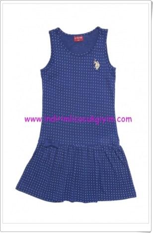 U.S Polo kız çocuk mavi puanlı elbise-30 TL