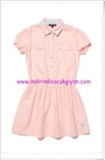 U.S Polo kız çocuk pembe beli büzgülü elbise-65 TL