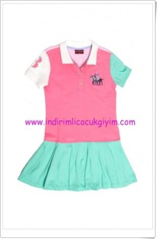 U.S Polo kız çocuk renkli polo yaka elbise-50 TL