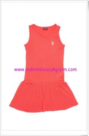 U.S polo kız çocuk mercan kolsuz elbise-40 TL