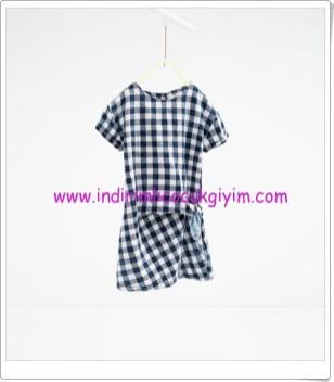 Zara kız çocuk mavi kareli elbise-76 TL