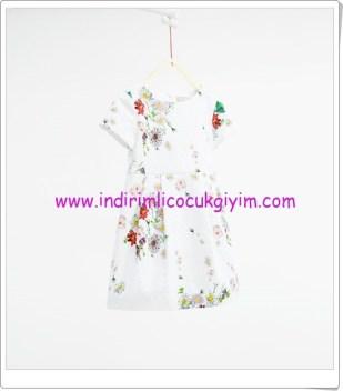 Zara kız çocuk mint çiçekli jakar elbise-90 TL