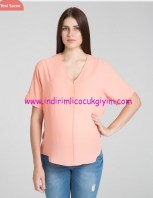 İnce şeftali rengi hamile bluzu-120 TL