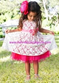 Bonprix dantelli çift katlı kız çocuk elbise