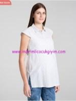 Kısa kollu çizgili beyaz hamile tuniği-125 TL