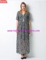 Yaprak baskılı uzun hamile elbisesi-240 TL