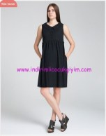bebe yaka siyah hamile elbisesi-180 TL
