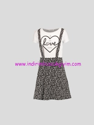 LCW genç kız siyah desenli askılı elbise