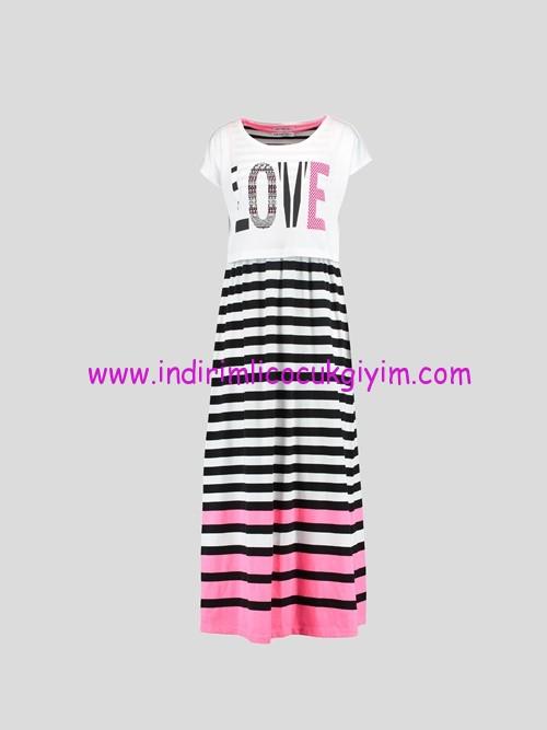LCW yazı baskılı uzun genç kız elbise