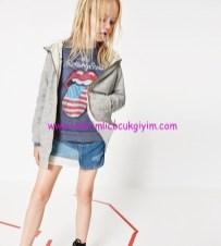 Zara kız çocuk gri kapşonlu ceket