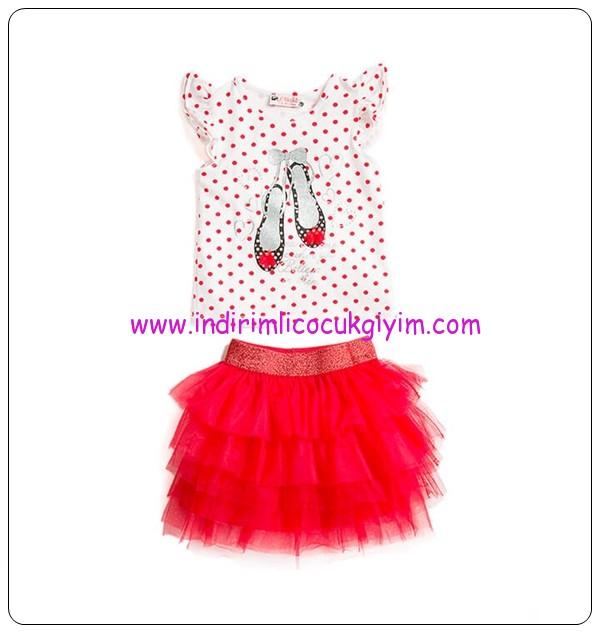 LC Waikiki kız çocuk kırmızı tül etek-puantiyeli bluz