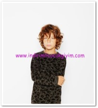 zara erkek çocuk leopar desenli triko kazak
