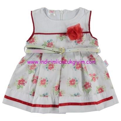 civil 6-18 ay çiçekli kolsuz yazlık bebek elbisesi