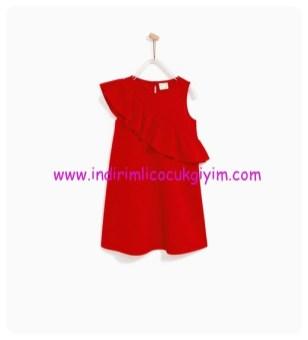zara kız çocuk eğik volanlı kırmızı elbise