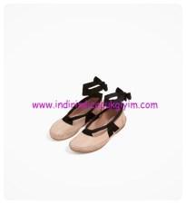 zara kız çocuk pudra bağcıklı deri babet ayakkabı