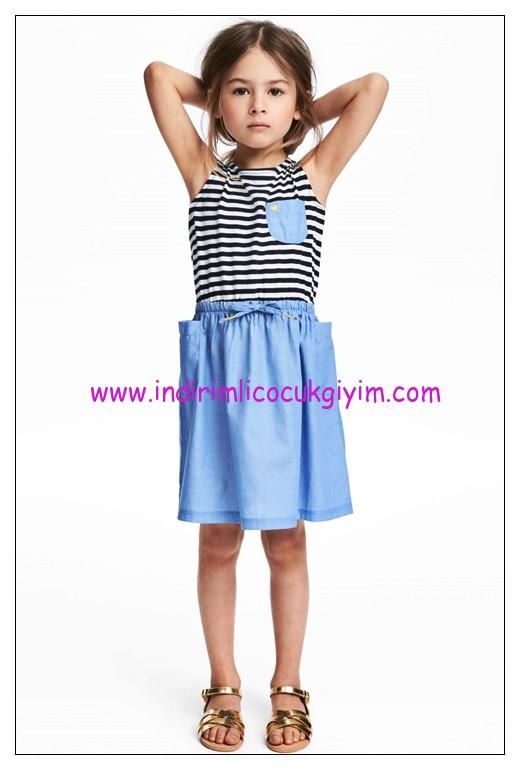 hm beli lastikli kolsuz kız çocuk mavi elbise
