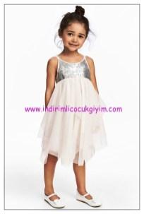 hm kız çocuk beyaz gümüş abiye elbise
