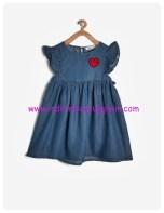 koton kız çocuk baskılı denim elbise