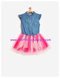 koton kız çocuk tül detaylı jean elbise
