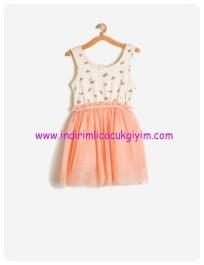 koton kız çocuk tül detaylı somon elbise