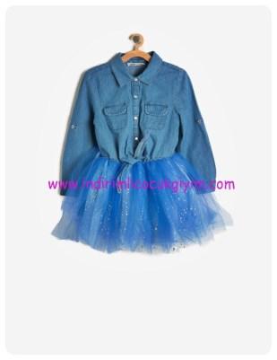 koton kız çocuk tutulu jean elbise