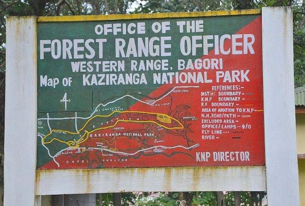 काजीरंगा राष्ट्रीय उद्यान का मानचित्र
