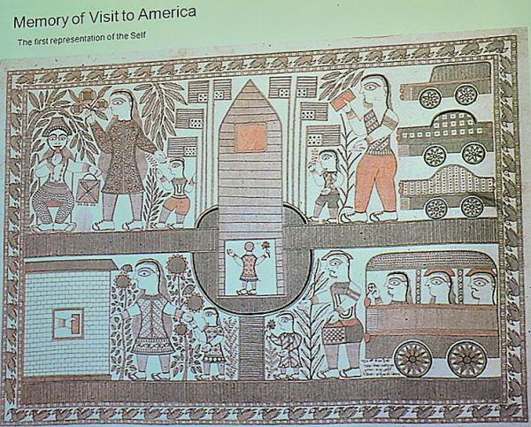 गंगा देवी की अमरीका यात्रा के दृश्य - मधुबनी चित्र शैली में