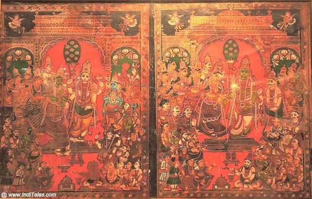 शिव-पारवती एवं राम-सीता विवाह - तंजावुर कला शैली