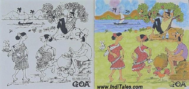 गोवा का प्रसिद्द कुनबी नृत्य अज़ूलेज़ो टाइल पर